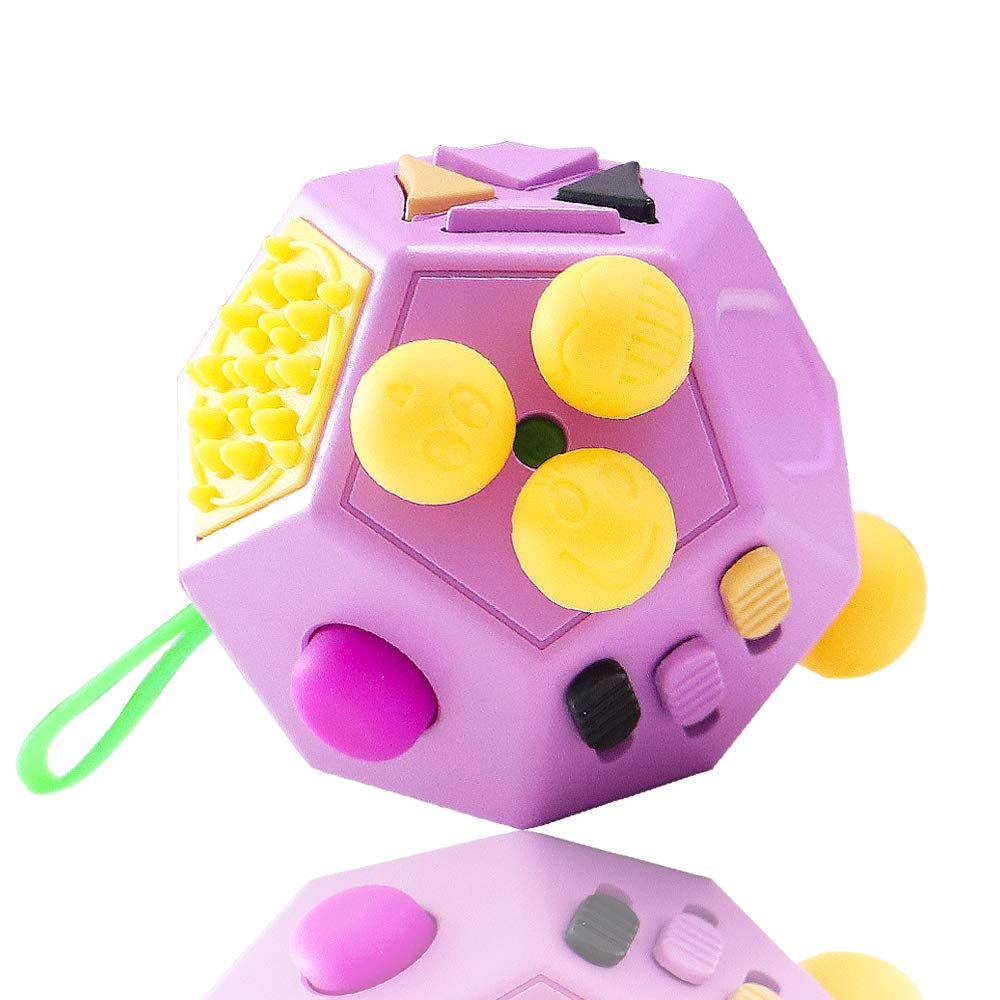 VCOSTORE 12 Sides Fidget Cube, Dodecagon Fidget Toy Dice Stress and Anxiety Relief Portable for Children and Adults with ADHD ADD OCD Autism (Purple)
