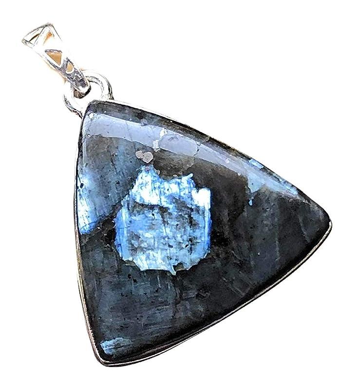 Black moonstone Larvikite semi oval silver pendant 925 XV98.1