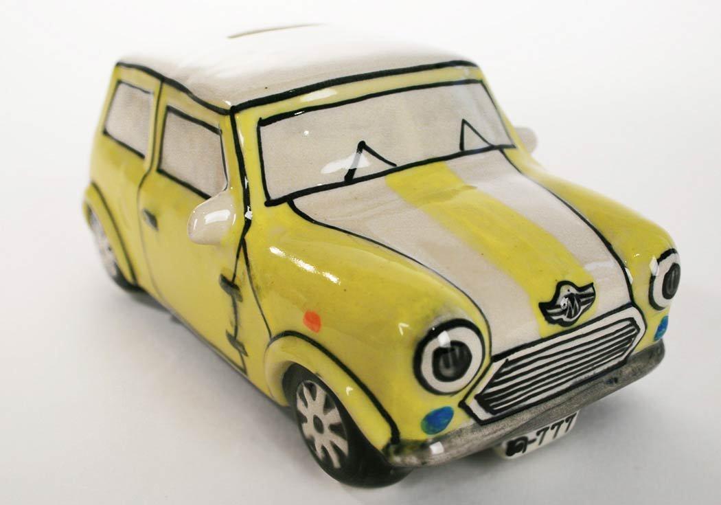 Life Arts Mini Cooper Salvadanaio Ceramica Realizzato a Mano Dimensione Grande Rossa 16cm x 6cm x 8cm