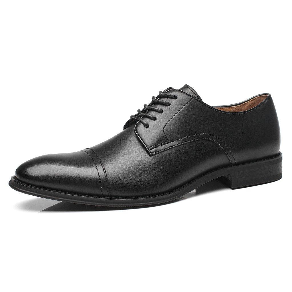 La Milano Mens Leather Updated Classic Cap Toe Oxfords Lace Dress Shoes, black, 11 D(M) US