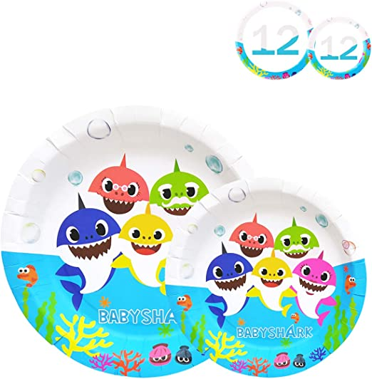 Shark Party Birthday Plates, Birthday Party Supplies Decorations 24 Packs 9 Inch & 7 Inch for Baby Cute Shark Theme