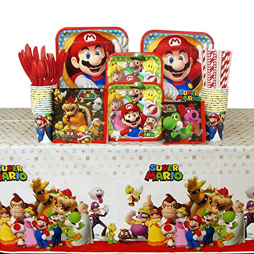 //encrypted-tbn0.gstatic.com/images?q\u003dtbnANd9GcSmT_syVZy3wUcmAm_ty298BTRxL09Yl6oDMzAJEtchqjlocA_HpQ & Super Mario Brothers Party Supplies Pack for 16 Guests Includes: Straws Plates Napkins Cups Cutlery and Table Cover Bundle for 16 | PrestoMall - ...