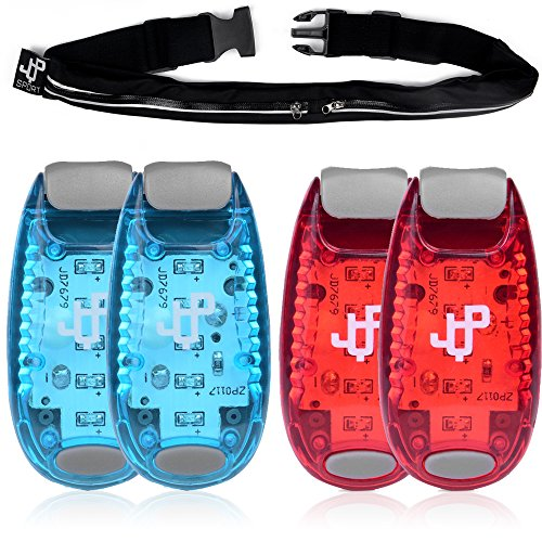 ONE DAY SALE! LED Safety Light (4 PACK) and Running Belt Sets, The Perfect Running Light and Runners Pouch, suitable for Jogging, Cycling, Biking, Dog Walking, Strobe Light, Waterproof, By JQP Sports