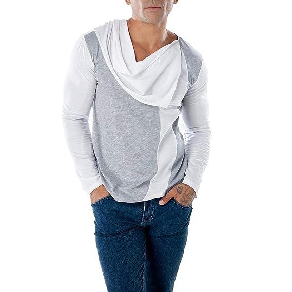 Blusa de Hombre de BaZhaHei, Camiseta de Manga Larga con Cuello en Pico y Cuello