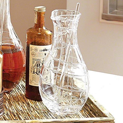 European Art Glass Web Bar Martini Pitcher   Glass Spoon Mixing Serving Modern by Global Views