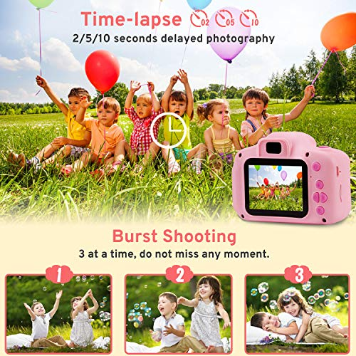 PROGRACE Kids Camera Digital Video Cameras for Kids Boys Birthday Toy Gifts Toddler Video Recorder Children Camera 2 Inch IPS with SD Card-Pink