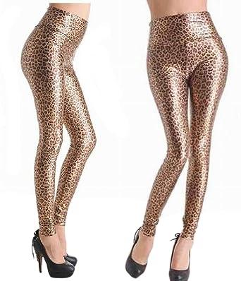 952869b48227e KOOLEE High Waist Leopard Legging - Women Gold Wet Look Leopard Printed  Leggings Sexy Skinny Legging: Amazon.co.uk: Clothing