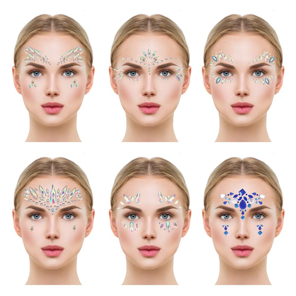 Glamza Face Crystal Sticker 6 Gems Set Women Mermaid Rave Festival Glitter Rhinestone Temporary Tattoo Face Jewels Face Sticker Eyebrow Face Body Jewellery (STYLE 06)