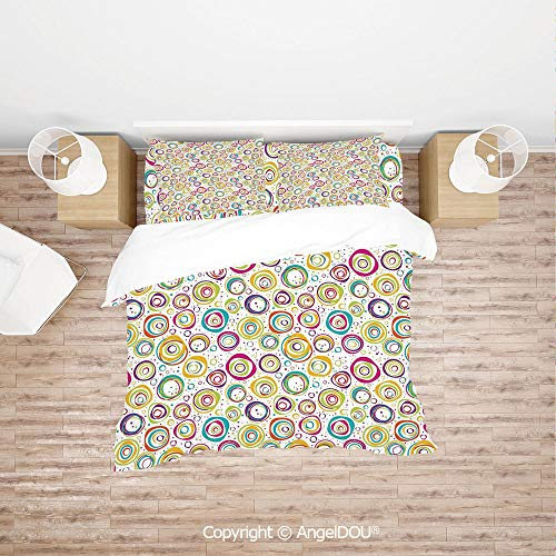 (PUTIEN 4 Pieces (1 Duvet Cover +1 Sheet+ 2 Pillow Shams) Home Bedding Sets Duvet Cover Sets,Pattern with Circles and Dots Bubble Rings Spotted Springtime Enjoyment Decorative,for Colorful Home Decor. )