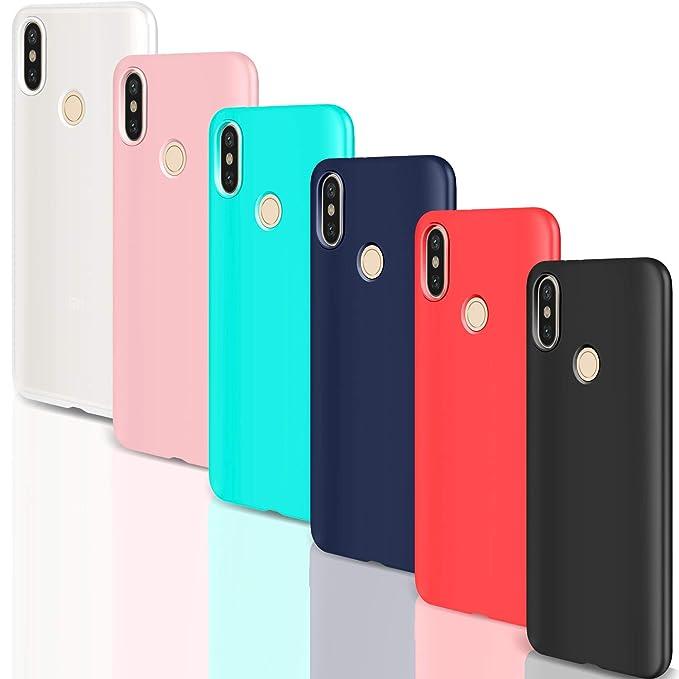 Leathlux [6 Packs] Funda para Xiaomi Mi A2 Lite, Carcasas Ultra Fina Silicona TPU Colores Cover para Xiaomi Mi A2 Lite - Translúcido Rosa Verte Azul ...