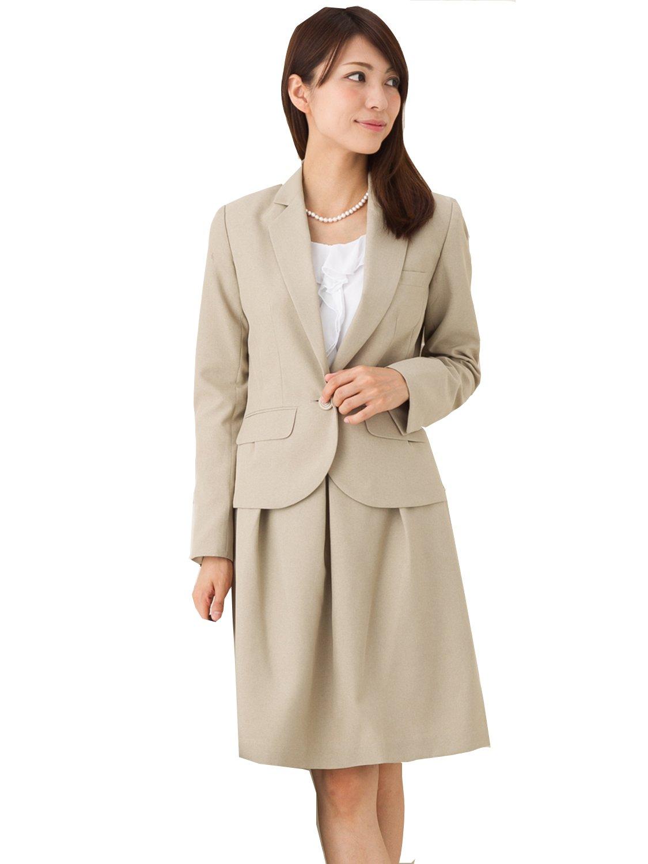 (アッドルージュ) AddRouge スーツ レディース 2点セット 洗える フレアスカート【j5033】 B00R733K6O 15号ABR|ベージュ ベージュ 15号ABR