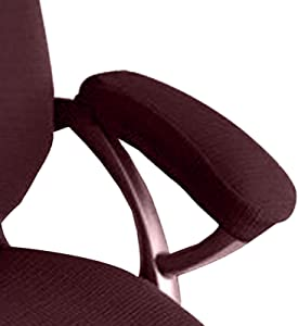 Ozzptuu 2 Pcs Polyester Fabric Removable Stretchy Office Chair Arms Cover Protector Armrest Slipcovers for Desk Chair/Rotating Chair/Computer Chair (Coffee)