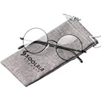 SOOLALA Cool Retro Round Metal Frame Spring Hinged Reading Glasses for men and Women