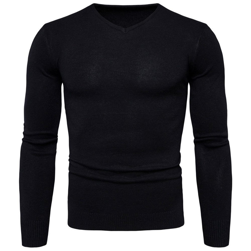 Gndfk langärmelige Pullover  Herren Hals Pullover solide langärmelige Pullover,schwarz,XXL