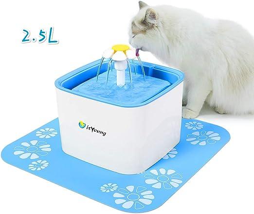 isYoung Bebedero Gatos Fuente Silencioso 2.5L para Perros y Gatos ...