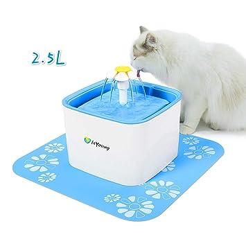 isYoung Bebedero Gatos Automático Fuente de Agua Gatos y Perros 2.5 L Dispensador Automático de Agua para Mascotas Fuente para Mascota Gato y Perro con 2 ...