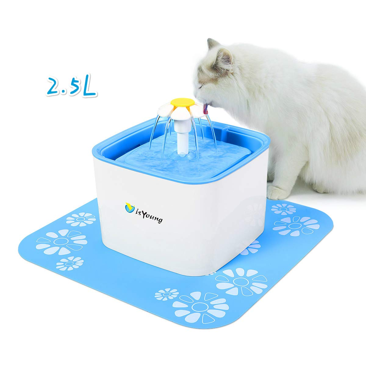 isYoung Bebedero Automático Gatos, Fuente de Agua Gatos y Perros, Dispensador de Agua Automático para Perros y Gatos, Fuente para Mascotas, Gran Capacidad DE 2.5 L, 3 Modos Ajustables (Azul)