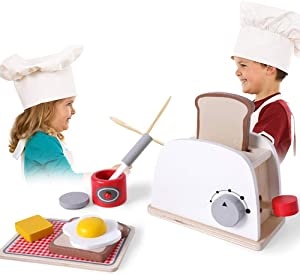 Qinlorgo Kitchen Play Set for Children - Wooden Pretend Play Simulation Toasters Bread Maker Blender Baking Kit Kids Kitchen Toy(Bread Maker)