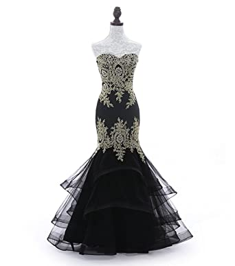 Womens Embroidered Mermaid Formal Evening Prom Dresses with Tiered Skirt For Wedding Party