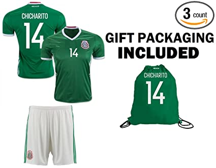 96bb9d268e1 Fan Kitbag Chicharito  14 Mexico Youth Home Away Soccer Jersey   Shorts  Kids Premium