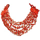 "005 Ny6design Red Jasper Chip Huge Multi strand Necklace w/Silver Plated Clasp 21"" N4120508f"