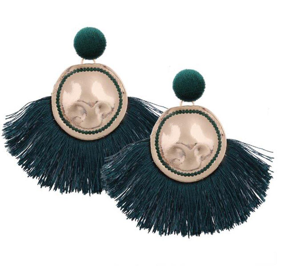 HoGadget Women Bohemian Fan Shape Tassel Dangle Drop Statement Earrings (Green)
