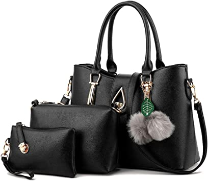 3 Pièces Sacs pour Femmes en PU Cuir Vintage Sac à MainSac à bandoulière Pochette Noir