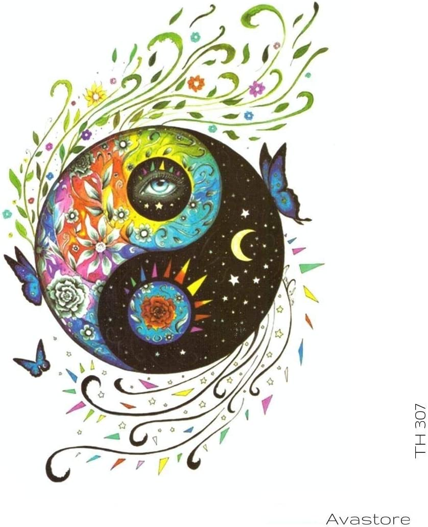 Tatuaje temporal de amor y paz, Yin and Yang tatuaje temporal ...