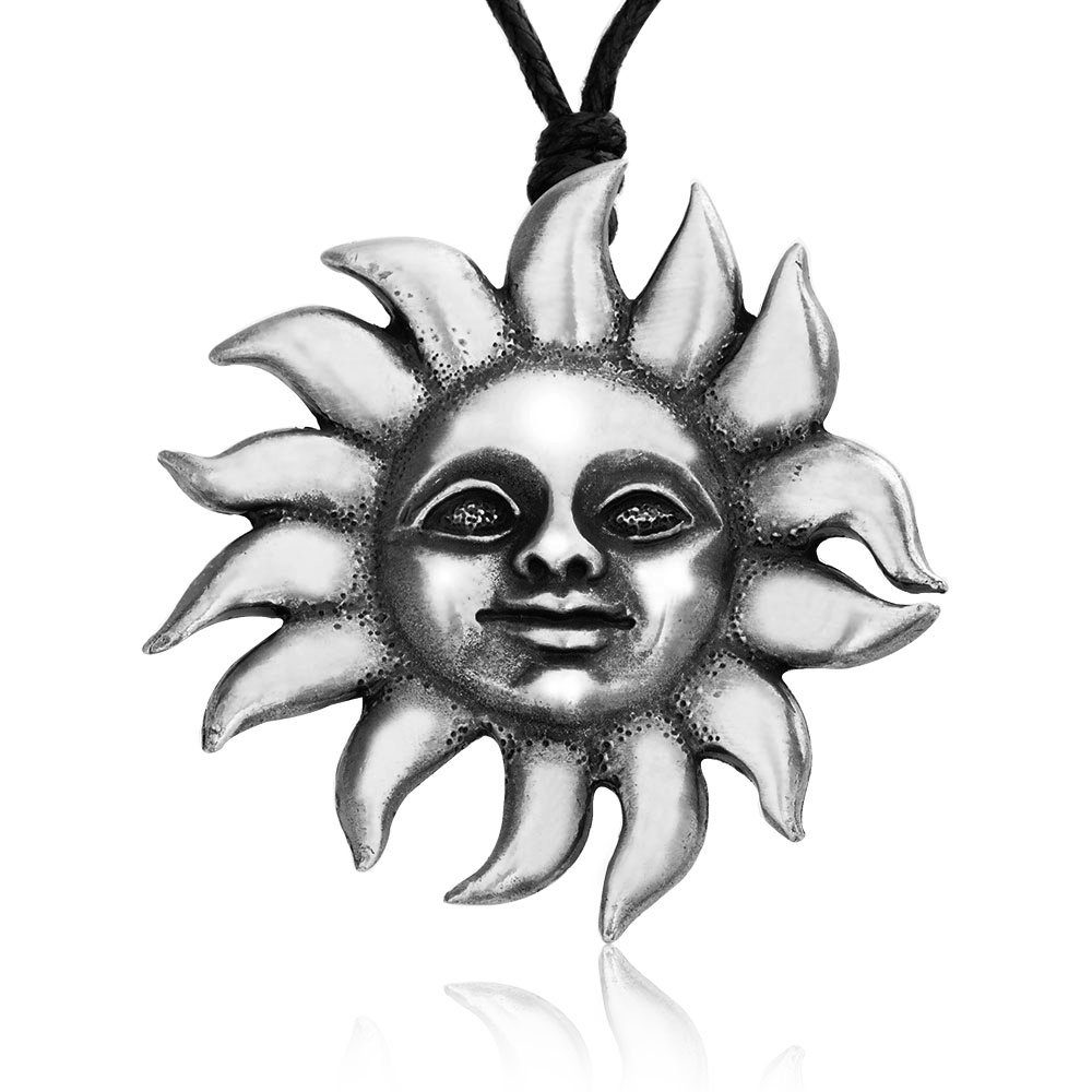 Dan's Jewelers Hippie Psychedelic Sun Face Pendant Necklace, Fine Pewter Jewelry