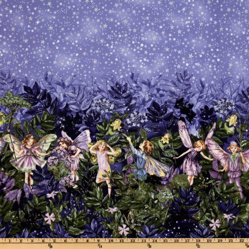 Michael Miller Night Flower Fairies Double Border Stripe Nite Blue Fabric By The (Blue Fabric Borders)