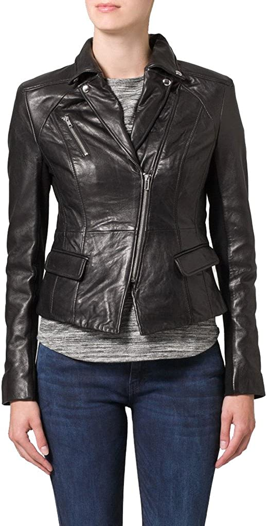 New Womens Lambskin Leather Slim Fit Motorcycle Jackets LFW118