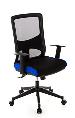 HJH Office LAVITA Silla de oficina Negro y Azul 70 x 29.6 x 61 cm