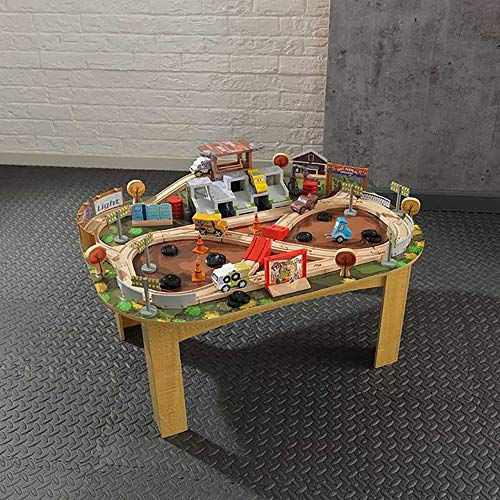 Disney KIDKRAFT Pixar Cars 3 Thunder Hollow 65+ Piece Wooden Track Set with Accessories and Table