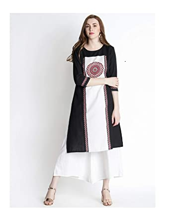 1d23f2a0d1067 Amazon.com  Hiral Designer Indian Wear For Women Kurti Women Black Printed  A-Line Handloom Kurta Cotton Dresses  Clothing