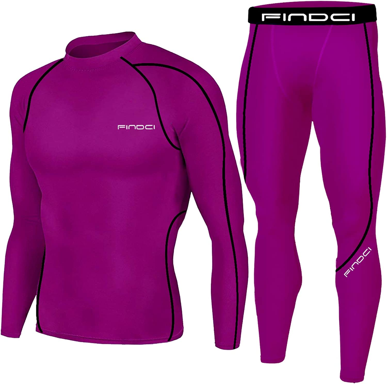 KBOO-Dark Purple, XL Pants Skin-Tight Long Sleeves Quick Dry Fitness Tracksuit Gym Yoga Suits 1Bests Mens Sports Running Set Compression Shirt