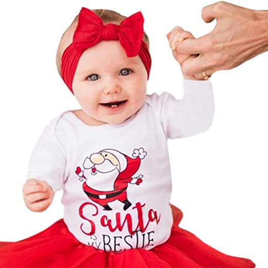 95075bf30b7a5 Digood Toddler Newborn Baby Girls Boys Christmas Santa Letter Romper  Headband Outfit Clothes (White