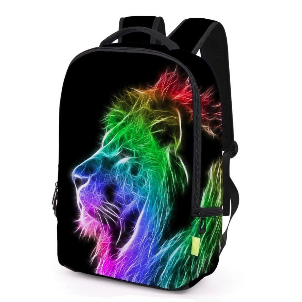 Sunward Polyester Fabric School Backpack Bags 3D Animal Print Cute Laptop Hiking (H)