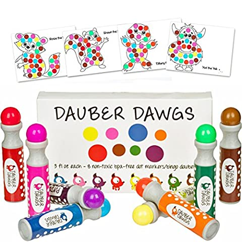 8-pack Washable Dot Markers / Bingo Daubers Dabbers Dauber Dawgs Kids / Toddlers / Preschool / Children Art Supply 3 Pdf Coloring eBooks = 100 Activity Sheets To (Toddler Non Toxic Paint)