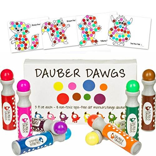 8pack Washable Dot Markers / Bingo Daubers Dabbers Dauber Dawgs Kids / Toddlers / Preschool / Children Art Supply 3 Pdf Coloring eBooks = 100 Activity Sheets To Do