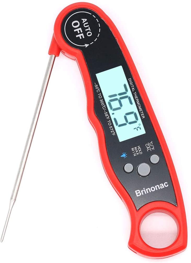 Brinonac Waterproof Digital Oven Meat Food Thermometer with Backlight and Calibration for Smoker,Kitchen, Cooking and BBQ Grill Outdoor-Red