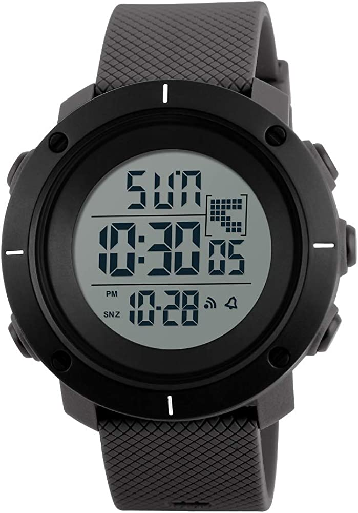 ALCADAN Men s Digital Sport Watch Led Electronic Military Wrist Watch with Alarm Stopwatch Dual Time Zone Count Down EL Backlight Calendar Date