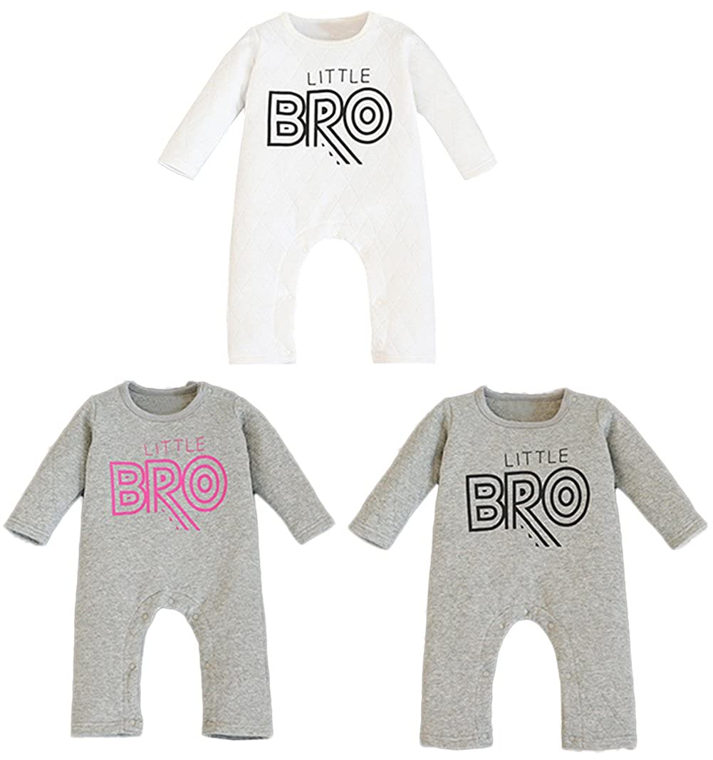 stylesilove Infant Toddler Baby Unisex Little Bro Print Thick Cotton Warm Long Sleeve Baby Romper