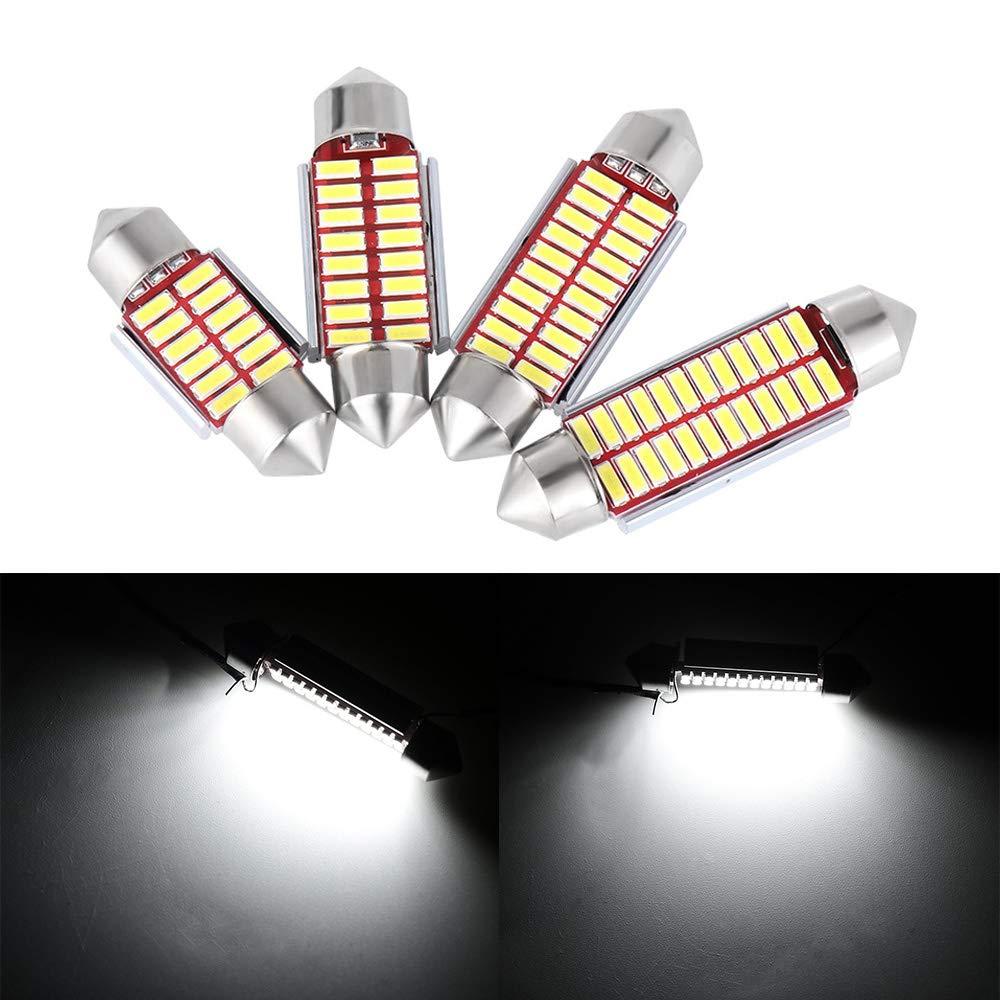 IGORW 2Pcs DC12V Luci a LED Lampadine per interni auto Lampade da lettura a cupola Lampade da interno per esterno cold white, 31mm