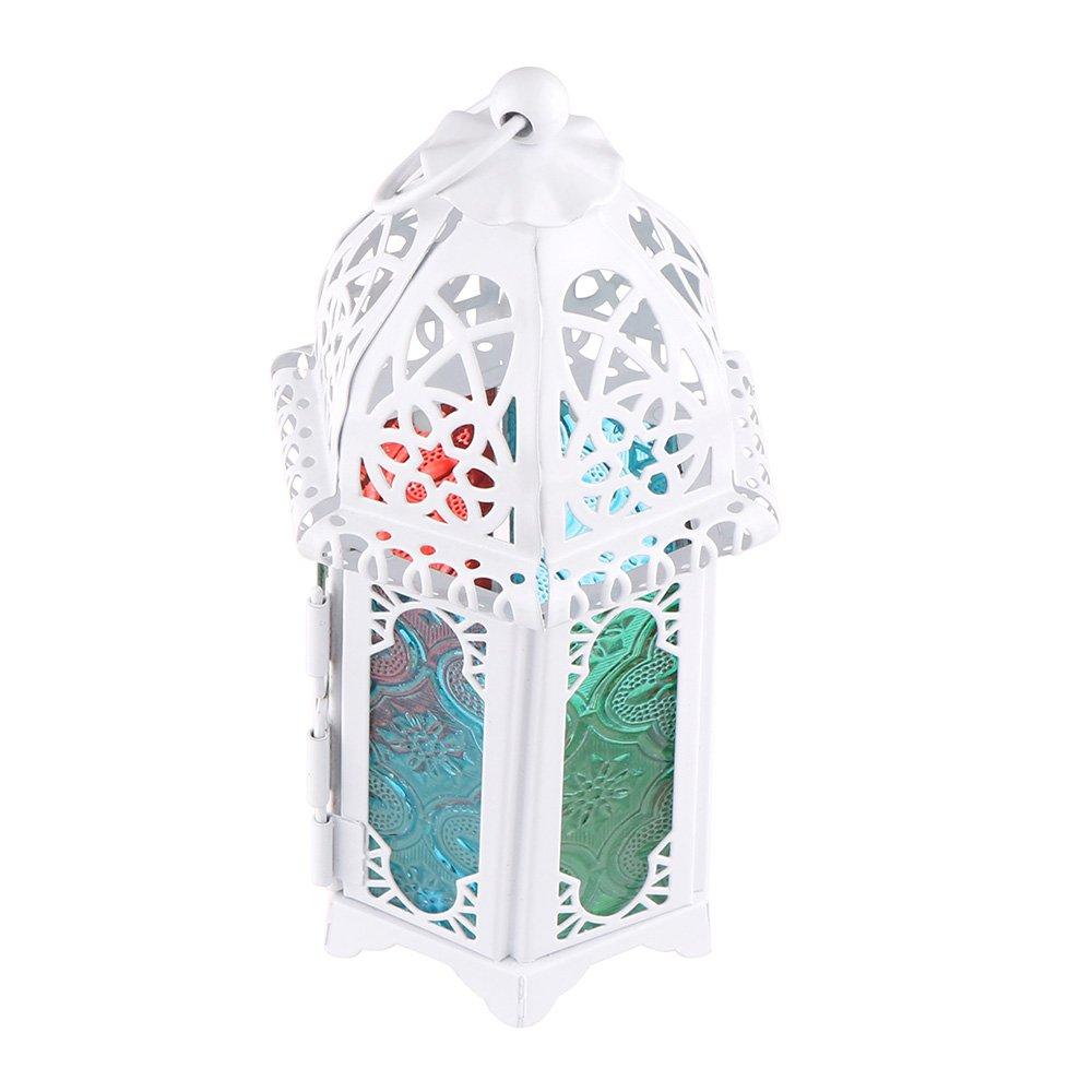 OurLeeme Titolare Classic Retro Candela Vintage marocchina Antivento Ferro e colorato Vetro Candeliere Candela Lanterna Bianca