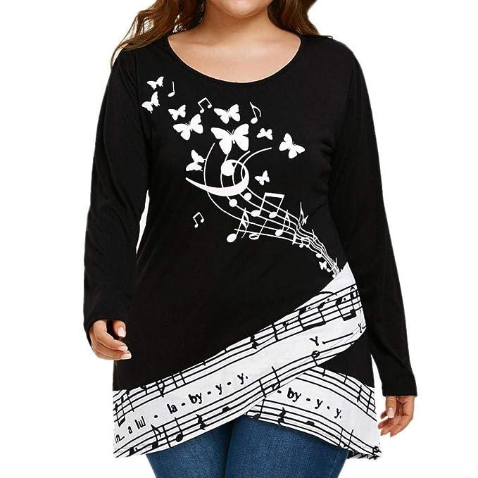 BaZhaHei,Mujeres Ropa de Camisetas, Camiseta Grande Musical de Las Mujeres del tamaño Grande