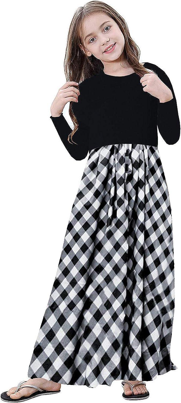 60s 70s Kids Costumes & Clothing Girls & Boys KYMIDY Girl Maxi Dress Kids Casual Buffalo Check Plaid Long Sleeve Dresses with Pockets(6-12yrs) $19.99 AT vintagedancer.com