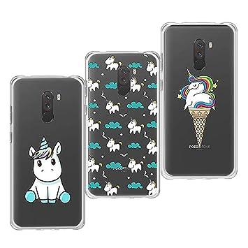 KZIOACSH 3 x Funda Xiaomi Pocophone F1,Silicona Carcasa Transparente TPU Protección,Ultra Slim Anti Choque Anti Arañazos para Xiaomi Pocophone ...