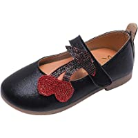 Dorical Glitter Cherry Back to School Kids Girl Boy Leather Flat Loafer Princess Shoes Soft Leather Close Toe Single Shoes
