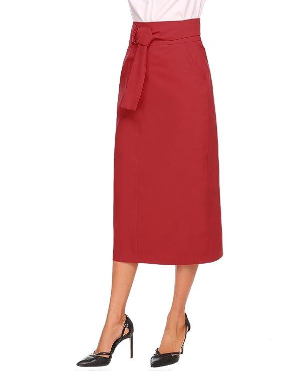 Keland Falda Largas Vintage Mujer Alta Cintura la Altura del Tobillo  Enaguas Plisada Enaguas Bolsillos laterales con Correa Cintura Larga  Amazon .es  Ropa y ... 79309b9f5654