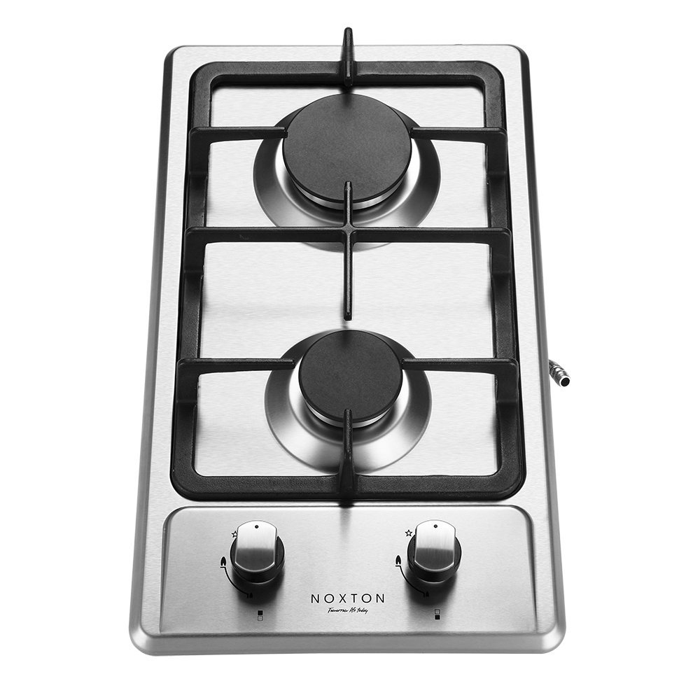 NOXTON Built-in 2 Burner Domino Gas Hob cooker in Stainless Steel LPG KIT FFD [Energy Class A+]